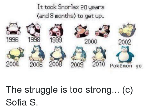 Pokemon, Struggle, and Strong: It took Snorlax 20 years  (and 8 months) to get up.  1996 1998 1999  2000  2002  2004 2006 2008 2009 2010 Pokémon go The struggle is too strong...  (c) Sofia S.