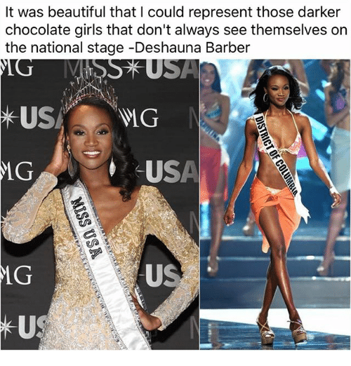 Barber, Beautiful, and Girls: It was beautiful that I could represent those darker  chocolate girls that don't always see themselves on  the national stage-Deshauna Barber  USA  MG  CUSA  LG  A va  US  MG