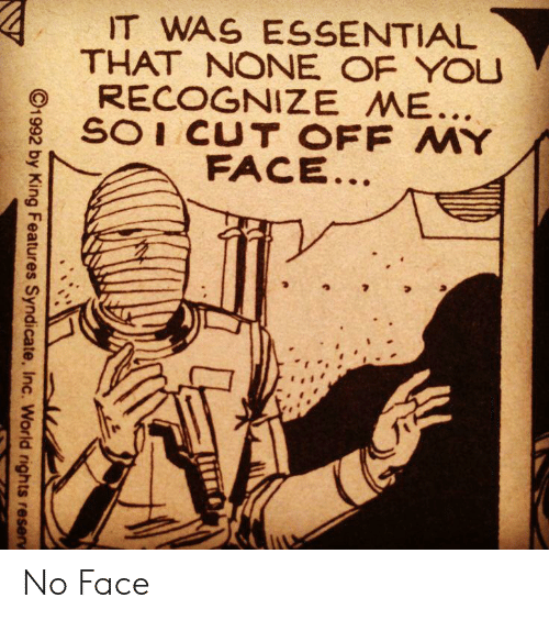 soi: IT WAS ESSENTIAL  THAT NONE OF YOU  RECOGNIZE ME...  SOI CUT OFF MY  FACE..  C1992 by King Features Syndicate, Inc. World rights reserv No Face