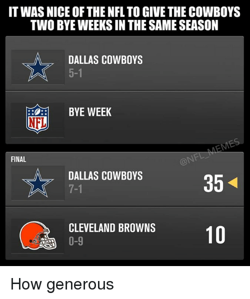 Cleveland Browns, Dallas Cowboys, and Finals: IT WAS NICE OF THE NFL TO GIVE THE COWBOYS  TWO BYEWEEKSIN THE SAME SEASON  DALLAS COWBOYS  BYE WEEK  NFL  FINAL  DALLAS COWBOYS  35  CLEVELAND BROWNS  10  0-9 How generous