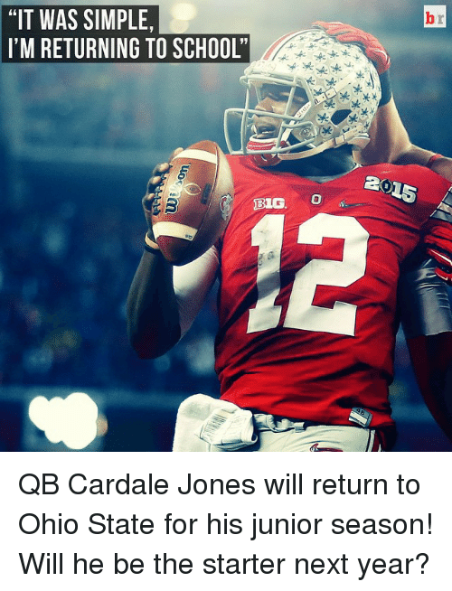 "Ohio State: ""IT WAS SIMPLE,  I'M RETURNING TO SCHOOL'  BIG O QB Cardale Jones will return to Ohio State for his junior season! Will he be the starter next year?"