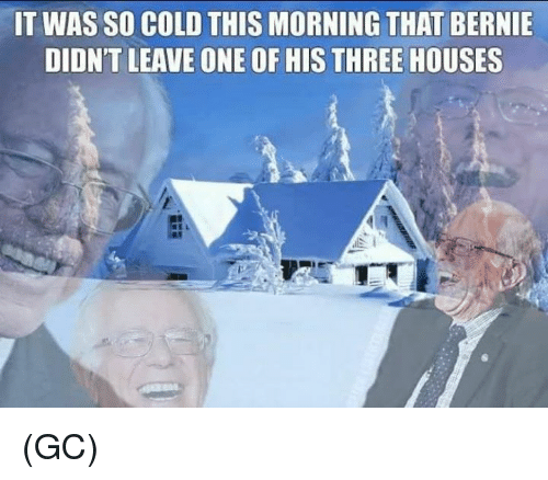 Memes, Cold, and Bernie: IT WAS SO COLD THIS MORNING THAT BERNIE  DIDN'T LEAVE ONE OF HIS THREE HOUSES (GC)
