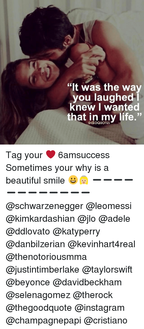 "Memes, 🤖, and Ceo: ""It was the way  you laughed  I  knew I wanted  that in my life.""  @CEO QUOTES Tag your ❤️ 6amsuccess Sometimes your why is a beautiful smile 😀👸🏼 ➖➖➖➖➖➖➖➖➖➖➖➖ @schwarzenegger @leomessi @kimkardashian @jlo @adele @ddlovato @katyperry @danbilzerian @kevinhart4real @thenotoriousmma @justintimberlake @taylorswift @beyonce @davidbeckham @selenagomez @therock @thegoodquote @instagram @champagnepapi @cristiano"