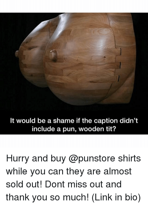 Memes, Thank You, and Link: It would be a shame if the caption didn't  include a pun, wooden tit? Hurry and buy @punstore shirts while you can they are almost sold out! Dont miss out and thank you so much! (Link in bio)