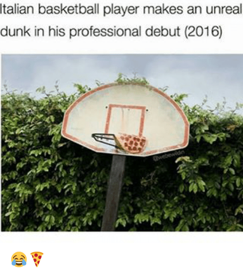 Memes, 🤖, and Unreal: Italian basketball player makes an unreal  dunk in his professional debut (2016) 😂🍕