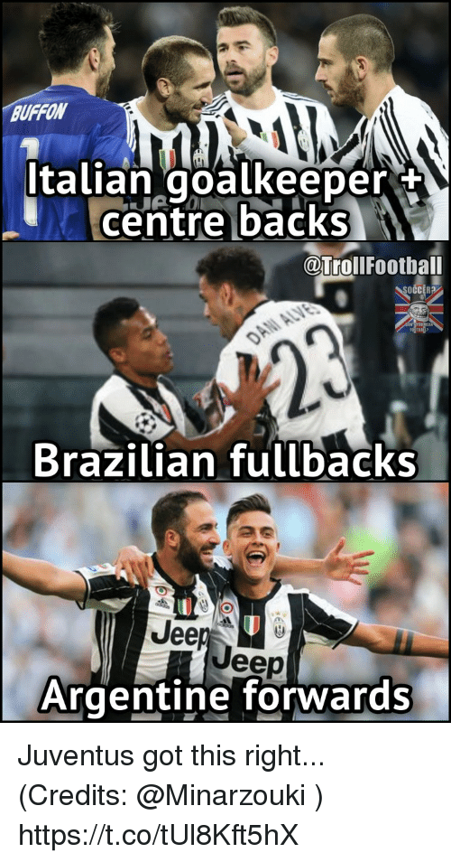 Football, Memes, and Soccer: Italian goalkeeper  Centre backs  @Troll Football  SOCCER?  Brazilian fullbacks  Jee  eep  Argentine forwards Juventus got this right... (Credits: @Minarzouki ) https://t.co/tUl8Kft5hX
