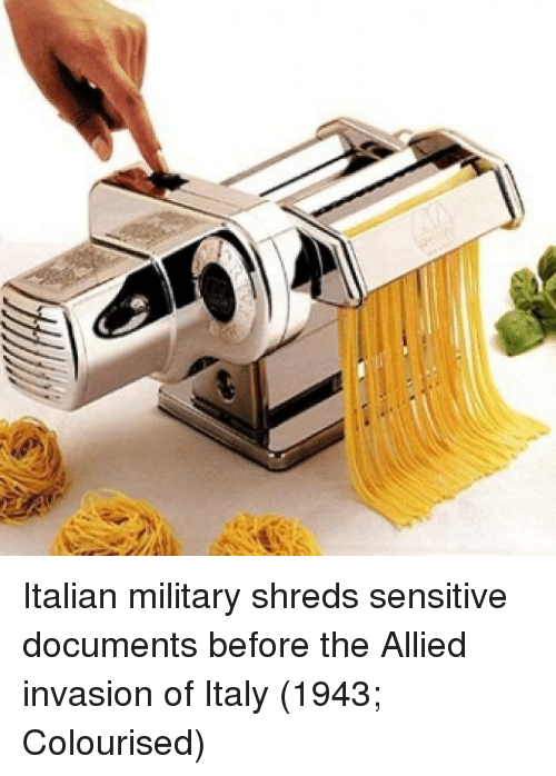 Italian Military: Italian military shreds sensitive documents before the Allied invasion of Italy (1943; Colourised)