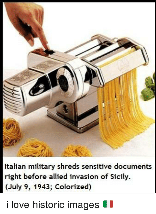 Memes, Ally, and Historical: Italian military shreds sensitive documents  right before allied invasion of Sicily.  (July 9, 1943; Colorized) i love historic images 🇮🇹