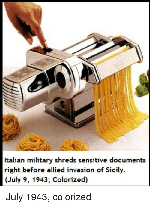 Italian Military: Italian military shreds sensitive documents  right before allied invasion of Sicily.  (July 9, 1943; Colorized) July 1943, colorized