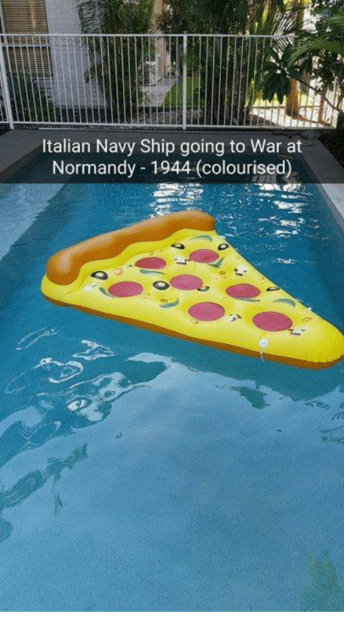 Italian Navy: Italian Navy Ship going to War at  Normandy 1944 (colourised)