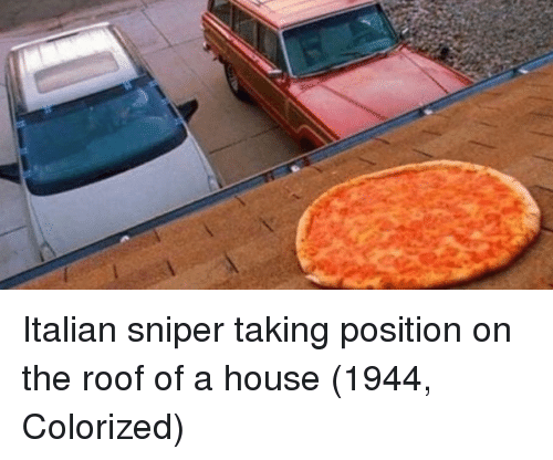 Italian Sniper: Italian sniper taking position on the roof of a house (1944, Colorized)