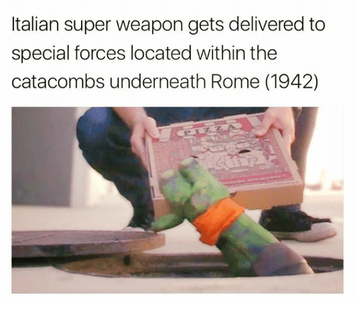 special forces: Italian super weapon gets delivered to  special forces located within the  catacombs underneath Rome (1942)