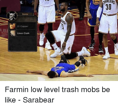 Be Like, Clothes, and Memes: Items  21 Copper  Linen Cloth Farmin low level trash mobs be like - Sarabear