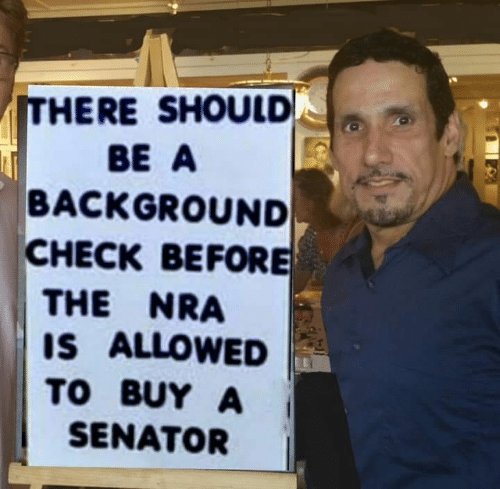 senator: ITHERE SHOULD  BE A  BACKGROUND  CHECK BEFORE  THE NRA  IS ALLOWED  TO BUY A  SENATOR