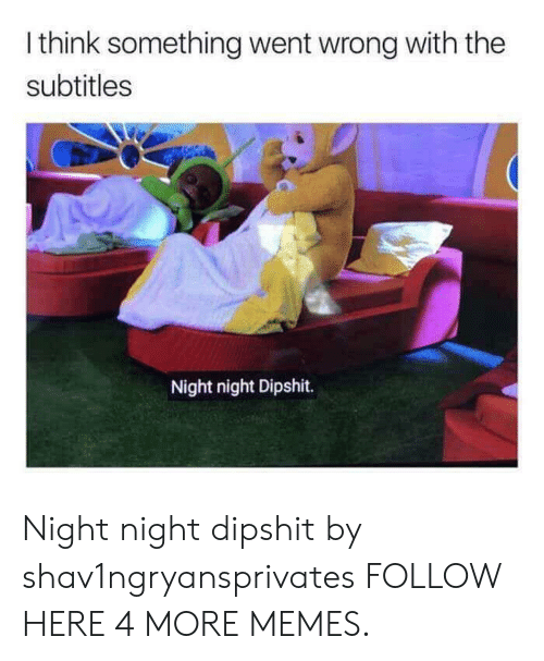 night night: Ithink something went wrong with the  subtitles  Night night Dipshit. Night night dipshit by shav1ngryansprivates FOLLOW HERE 4 MORE MEMES.