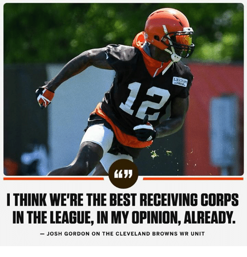 Cleveland Browns, Best, and Browns: ITHINK WE'RE THE BEST RECEIVING CORPS  IN THE LEAGUE, IN MY OPINION, ALREADY.  -JOSH GORDON ON THE CLEVELAND BROWNS WR UNIT