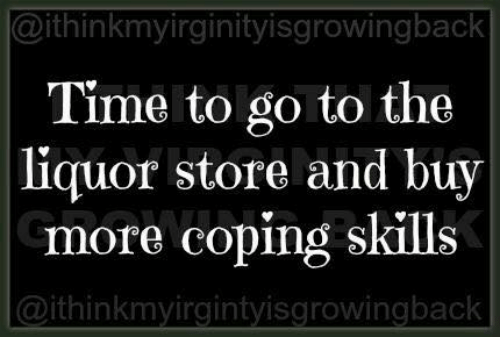Memes, Liquor Store, and Time: @ithinkmyirginityisgrowingback  Time to go to the  liquor store and buv  more coping skills  @ithinkmvirgintvisgrowingback