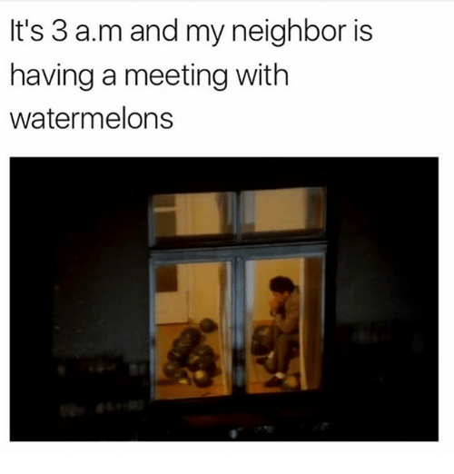 Memes, 🤖, and A&m: It's 3 a.m and my neighbor is  having a meeting with  watermelons