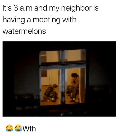 Memes, 🤖, and A&m: It's 3 a.m and my neighbor is  having a meeting with  watermelons 😂😂Wth