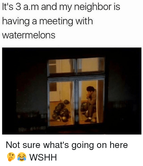 Memes, Wshh, and 🤖: It's 3 a.m and my neighbor is  having a meeting with  watermelons Not sure what's going on here 🤔😂 WSHH