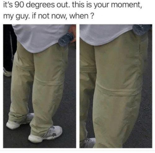 My Guy: it's 90 degrees out. this is your moment,  my guy. if not now, when?