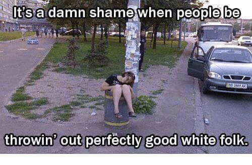 Good: Its a damn shame when people be  throwin out perfectly good white folk