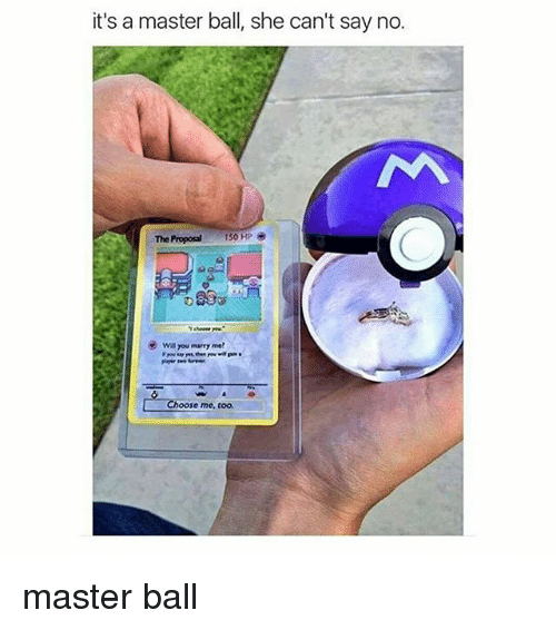 the proposal: it's a master ball, she can't say no.  The Proposal  150 HP  wa You marry me!  hoose me, too. master ball