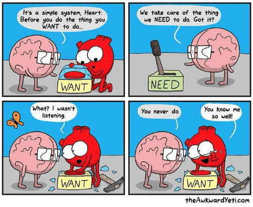 Theawkwardyeti: It's a simple system, Heart:  Before you do the thing you  WANT to do...  We take care of the thing  we NEED to do. Got it?  N)  L |WANT  NEED  What? I wasn't  listening  You know me  so well  You never do.  I WANT  I WANT  theAwkwardYeti.com