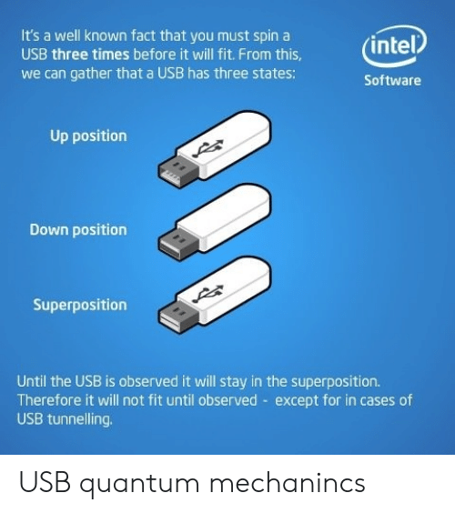 Three Times: It's a well known fact that you must spin a  (intel  USB three times before it will fit. From this,  we can gather that a USB has three states:  Software  Up position  Down position  Superposition  Until the USB is observed it will stay in the superposition.  Therefore it will not fit until observed except for in cases of  USB tunnelling USB quantum mechanincs