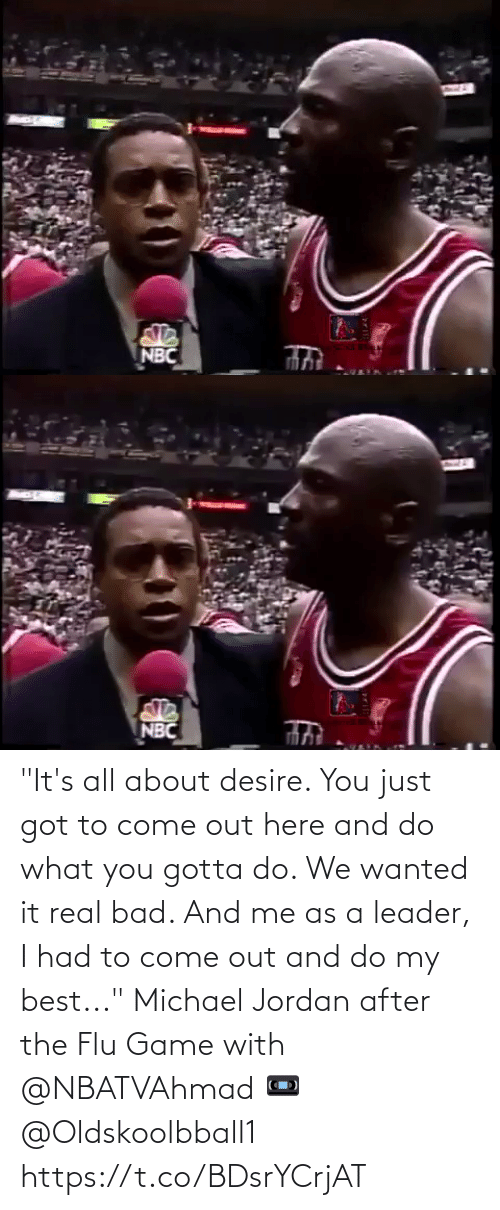 """After The: """"It's all about desire. You just got to come out here and do what you gotta do. We wanted it real bad. And me as a leader, I had to come out and do my best...""""   Michael Jordan after the Flu Game with @NBATVAhmad   📼 @Oldskoolbball1  https://t.co/BDsrYCrjAT"""