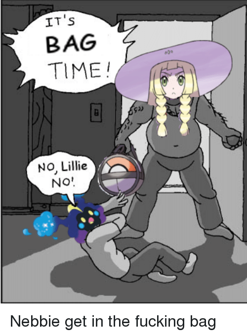 Nebby: IT's  BAG  TIME  NO, Lillie  NO Nebbie get in the fucking bag