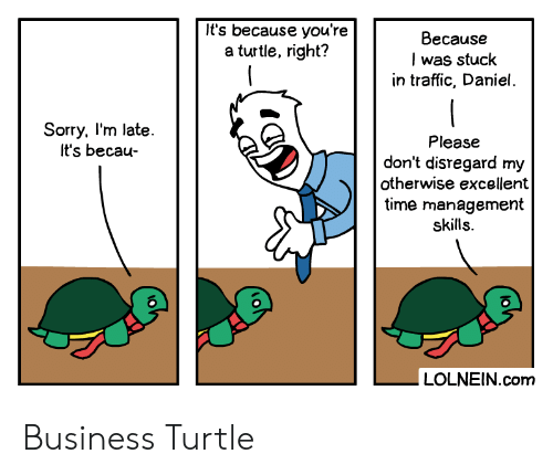 Traffic: It's because you're  a turtle, right?  Because  I was stuck  in traffic, Daniel.  Sorry, I'm late.  It's becau-  Please  don't disregard my  otherwise excellent  time management  skills.  LOLNEIN.com Business Turtle