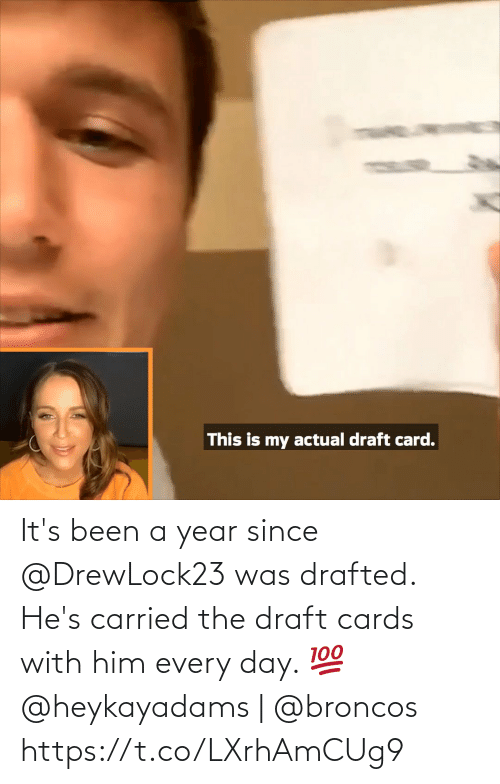 draft: It's been a year since @DrewLock23 was drafted.  He's carried the draft cards with him every day. 💯  @heykayadams | @broncos https://t.co/LXrhAmCUg9