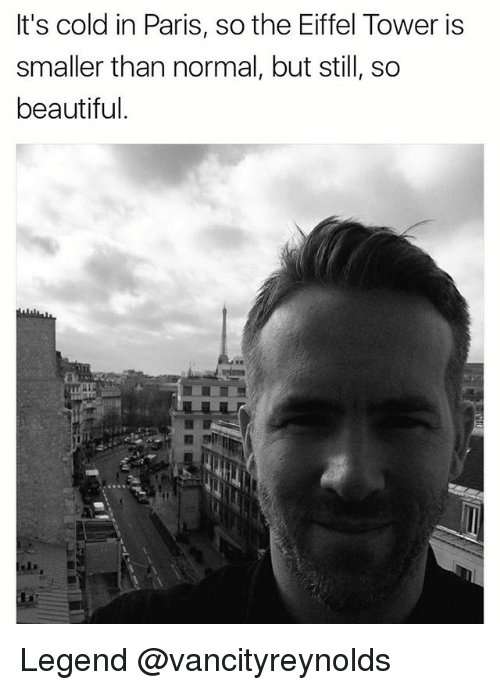Eiffel Towering: It's cold in Paris, so the Eiffel Tower is  smaller than normal, but still, so  beautiful. Legend @vancityreynolds