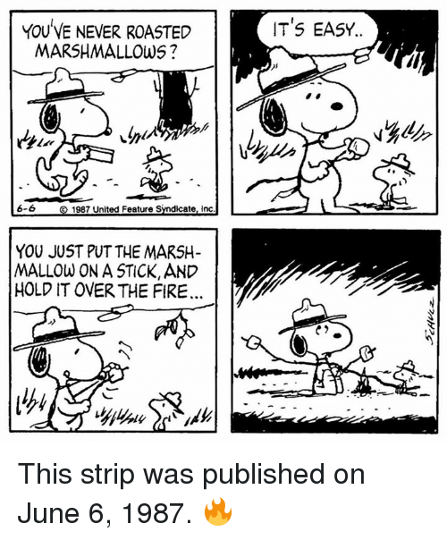 stripping: IT'S EASY..  YOU VE NEVER ROASTED  MARSHMALLOWS ?  6-6  1987 United Feature Syndicate, inc  YOU JUST PUT THE MARSH-  MALLOW ON A STICK, AND  HOLD IT OVER THE FIRE  C2 This strip was published on June 6, 1987. 🔥