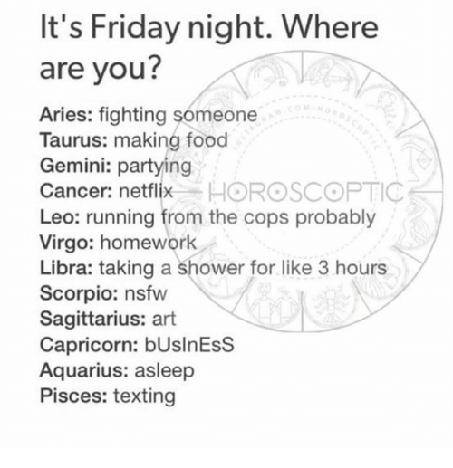 Food, Friday, and It's Friday: It's Friday night. Where  are you?  Aries: fighting someone  Taurus: making food  Gemini: partying  Cancer: netflix  HOROSCOPTIC  Leo: running from the cops probably  Virgo: homework  Libra: taking a shower for like 3 hours  Scorpio: nsfw  Sagittarius: art  Capricorn: bUslnEsS  Aquarius: asleep  Pisces: texting
