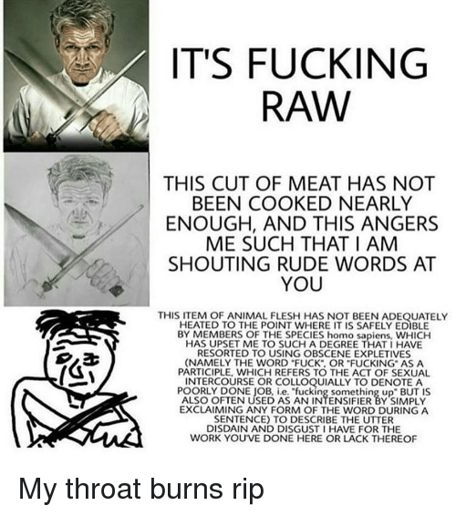 "Memes, Rude, and 🤖: IT'S FUCKING  RAW  THIS CUT OF MEAT HAS NOT  BEEN COOKED NEARLY  ENOUGH, AND THIS ANGERS  ME SUCH THAT I AM  SHOUTING RUDE WORDS AT  YOU  RESORTED TO USING OBSCENE EXPLETIVES  (NAMELY THE WORD ""FUCK OR FUCKING AS A  PARTICIPLE, WHICH REFERS TO THE ACT OF SEXUAL  INTERCOURSE OR COLLOQUIALLY TO DENOTE A  EXCLAIMING ANY FORM OF THE WORD DURING A  SENTENCE) TO DESCRIBE THE UTTER  DISDAIN AND DISGUST I HAVE FOR THE  WORK YOUVE DONE HERE OR LACK THEREOF My throat burns rip"