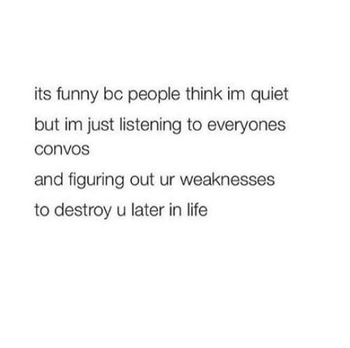 Funny, Life, and Memes: its funny bc people think im quiet  but im just listening to everyones  convos  and figuring out ur weaknesses  to destroy u later in life