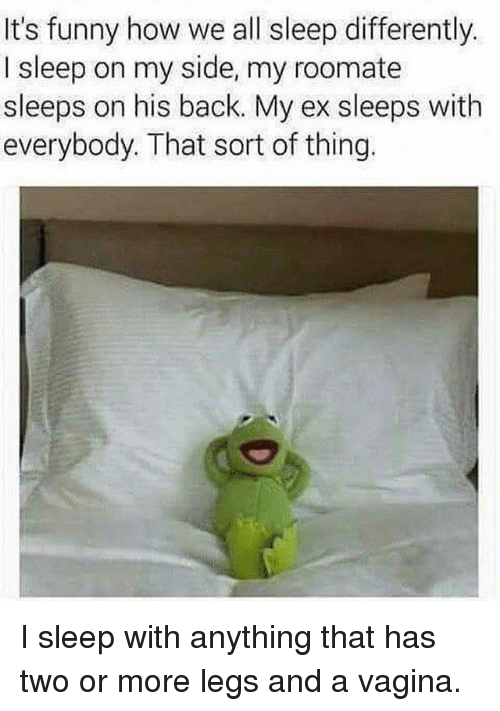 Funny, Memes, and Vagina: It's funny how we all sleep differently.  I sleep on my side, my roomate  sleeps on his back. My ex sleeps with  everybody. That sort of thing. I sleep with anything that has two or more legs and a vagina.