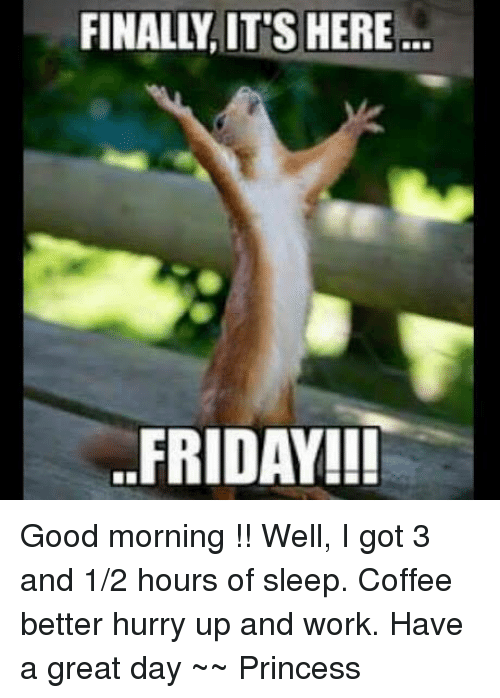 Good Morning Princess Meme : Its here friday good morning well i got and
