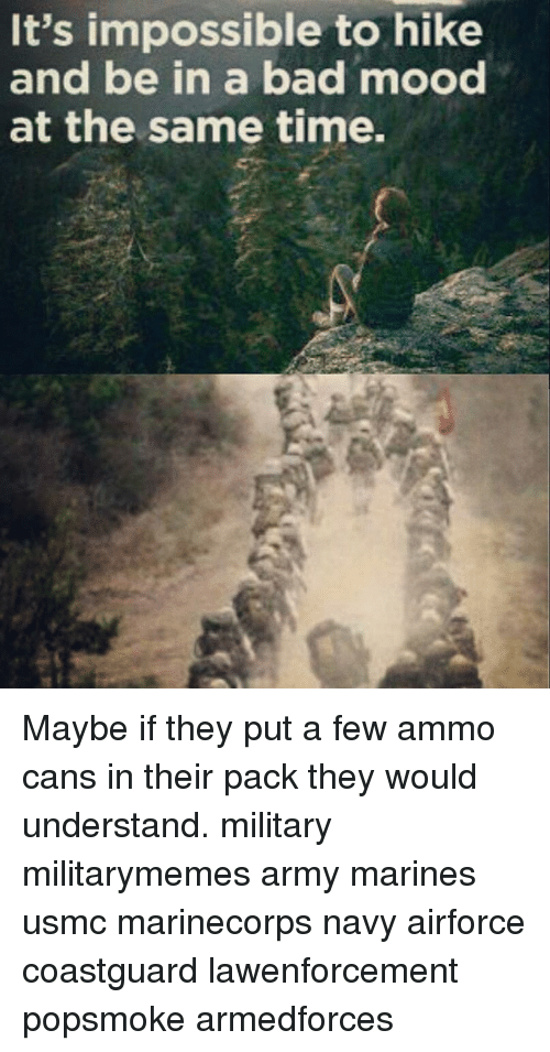 Memes, Mood, and Understanding: It's impossible to hike  and be in a bad mood  at the same time. Maybe if they put a few ammo cans in their pack they would understand. military militarymemes army marines usmc marinecorps navy airforce coastguard lawenforcement popsmoke armedforces