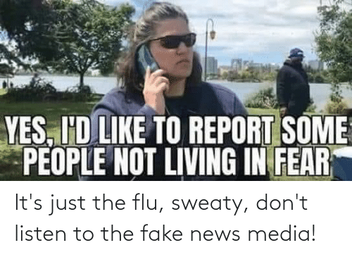 Fake News: It's just the flu, sweaty, don't listen to the fake news media!
