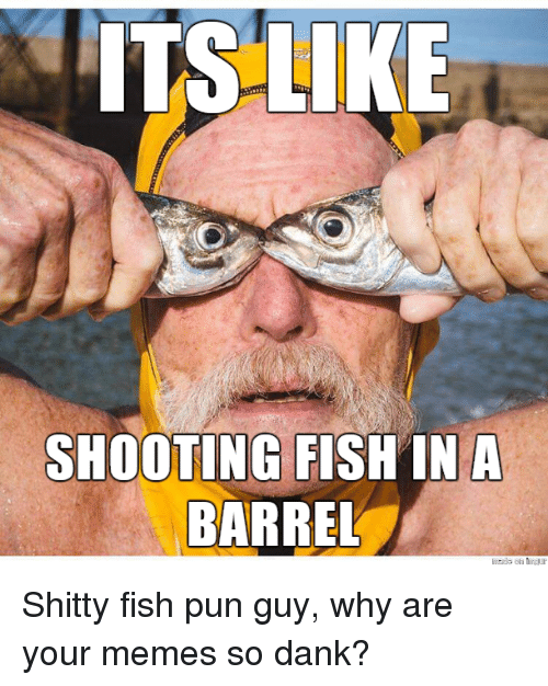 Dank, Funny, and Meme: ITS LIKE  SHOOTING FISH IN A  BARREL Shitty fish pun guy, why are your memes so dank?