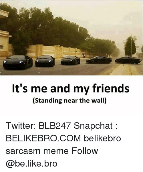 walls: It's me and my friends  (Standing near the wall) Twitter: BLB247 Snapchat : BELIKEBRO.COM belikebro sarcasm meme Follow @be.like.bro