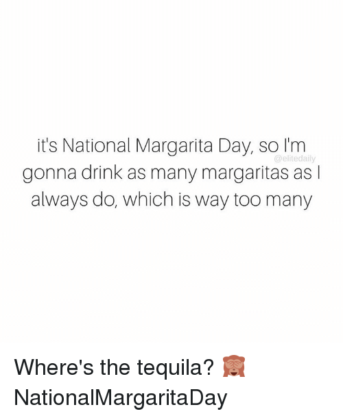 Drinking, Memes, and Tequila: it's National Margarita Day, so I'm  @elite daily  gonna drink as many margaritas as l  always do, which is way too many Where's the tequila? 🙈 NationalMargaritaDay