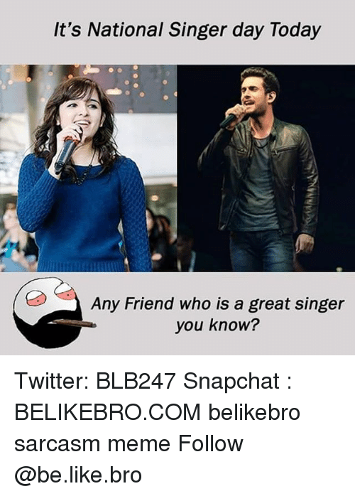 Be Like, Meme, and Memes: It's National Singer day Today  Any Friend who is a great singer  you know? Twitter: BLB247 Snapchat : BELIKEBRO.COM belikebro sarcasm meme Follow @be.like.bro