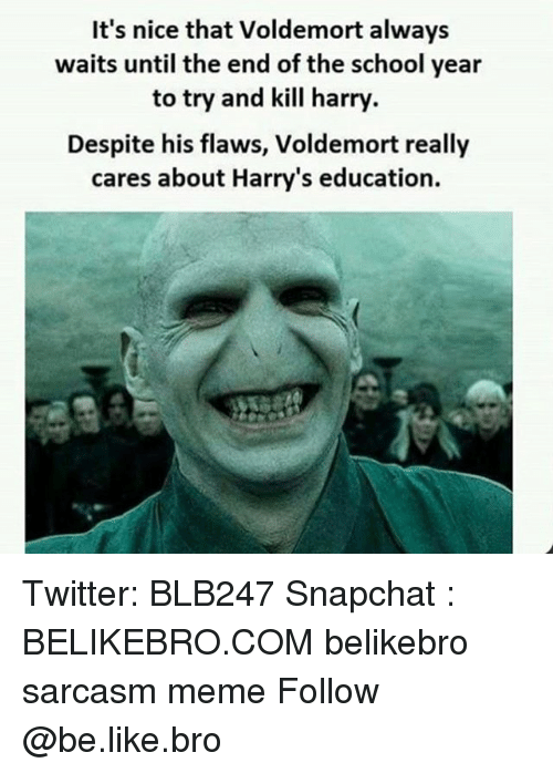 End Of The School Year: It's nice that Voldemort always  waits until the end of the school year  to try and kill harry  Despite his flaws, Voldemort really  cares about Harry's education. Twitter: BLB247 Snapchat : BELIKEBRO.COM belikebro sarcasm meme Follow @be.like.bro