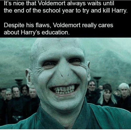 End Of The School Year: It's nice that Voldemort always waits until  the end of the school year to try and kill Harry  Despite his flaws, Voldemort really cares  about Harry's education.