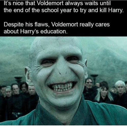 End Of The School Year: It's nice that Voldemort always waits until  the end of the school year to try and kill Harry.  Despite his flaws, Voldemort really cares  about Harry's education