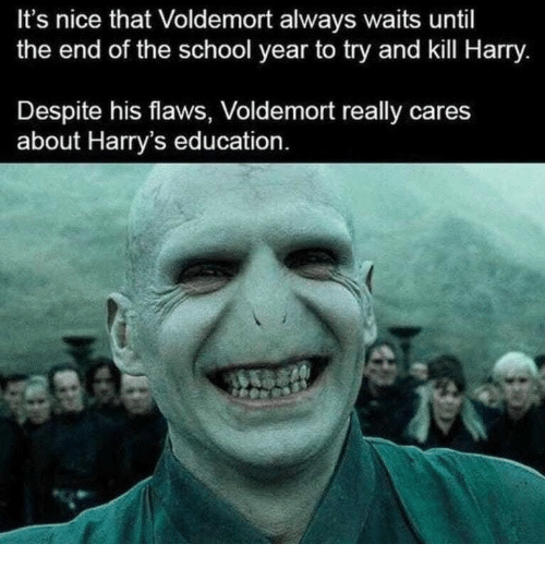 End Of The School Year: It's nice that Voldemort always waits until  the end of the school year to try and kill Harry  Despite his flaws, Voldemort really cares  about Harry's education
